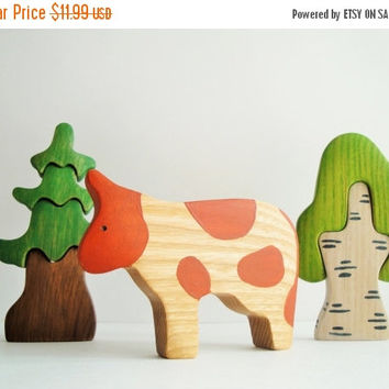ON SALE Toy Cow Farm animals Learning toy Wooden Miniature animal figurines Montessori toy Waldorf nature table Educational toys Handmade to