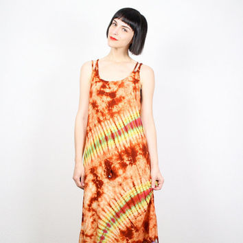 Vintage 90s Dress Tie Dye Dress Brown Orange Yellow Green Tie Dyed Dress Grunge Dress Sundress Beaded Fringe Dress Hippie Dress M L Large XL