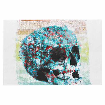 "Frederic Levy-Hadida ""Floral Skully 2 "" Coral Teal Decorative Door Mat"
