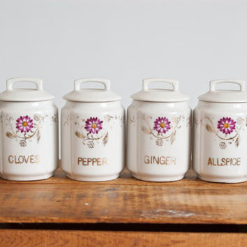 Vintage Japanese Spice Jars, Porcelain Cottage Chic Spice Containers, 1930s Hand Painted Ceramic, Crown Mark Made in Japan