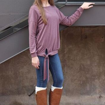 Fit to Be Tied Mauve Sweater