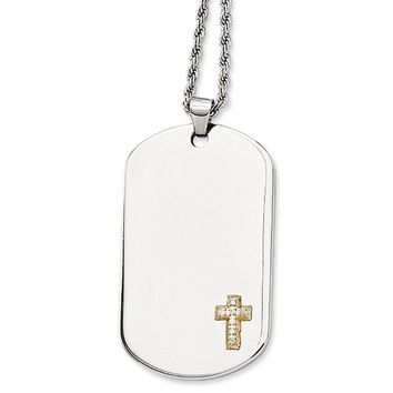 Stainless Steel, 14k Gold Plated Diamond Accent Cross Dog Tag Necklace