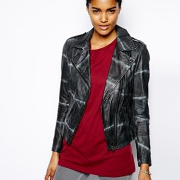 Muubaa Safi Tie Dye Leather Jacket - Thunder