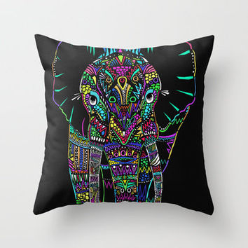 Psychedelic Elephant Throw Pillow by Sofie Thorsen | Society6
