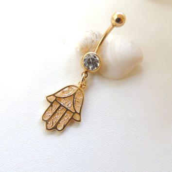 Gold Filled Hamsa Hand Belly Button Ring, Hand Navel Rings, Hamsa Hand Jewelry, Gold Belly Rings, Jeweled Navel Rings. 298