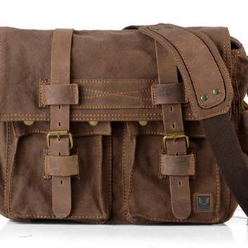 Military canvas Leather Men Messenger bag