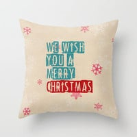 we wish you a merry christmas Throw Pillow by Sylvia Cook Photography | Society6