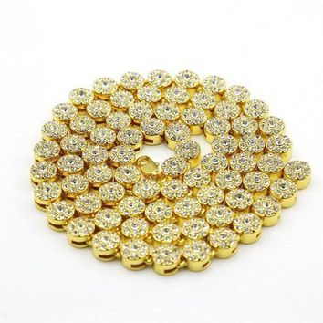 SPBEST Cluster Chain  ICED OUT YELLOW GOLD PLATED  NECKLACE JEWELRY