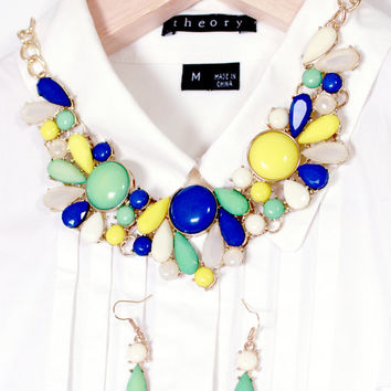Blue Yellow White Green Bubble Statement Necklace with Earring Set Choker Necklace Gift for Women