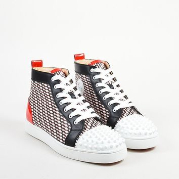 KUYOU Men  s Christian Louboutin Black, White, and Red  Lou Spike  Hi Top Sneakers