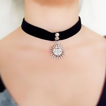 SALE black velvet choker - silver sun pendant necklace - Gothic choker silver cross charm  // Vintage punk jewelry gift