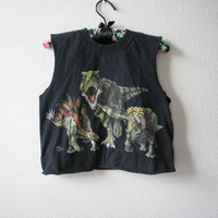 Upcycled Dino pack black sleeveless crop top deconstructed tee S