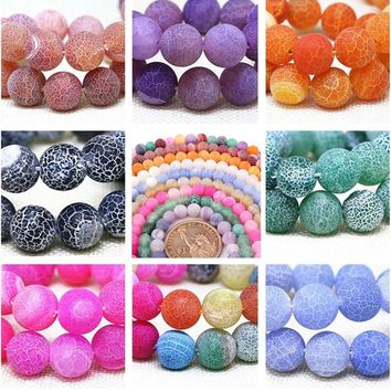 Nature Stone Beads Frost Cracked Fire Dragon Veins Agate Round Beads For Jewelry Making 6 8 10 12mm Pick Size