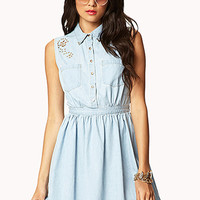 Embellished Denim Shirt Dress