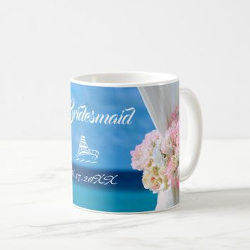 Elegant Blue Ocean Beach Wedding Bridesmaid Coffee Mug