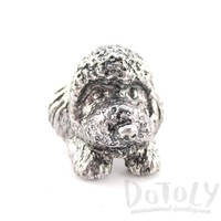 3D Toy Poodle Head Shaped Animal Ring in Silver | Gifts for Dog Lovers