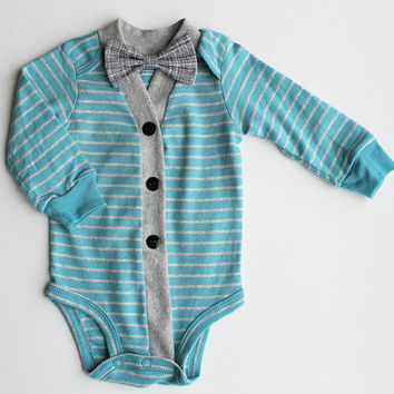 Baby Boy Cardigan, Baby Cardigan & Bow Tie Set, Blue and Gray Striped Cardigan, Baby Bodysuit, Cardigan Bow Tie, Baby Sweater, Baby Outfit
