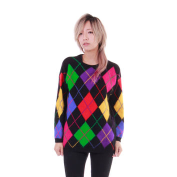 Argyle Angora Sweater Colorful Abstract Hip Hop Hipster Harlequin Clothing Slouchy Outerwear 80s 90s Jumper Size Small Medium