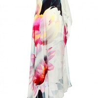 Elegant and light one shouldered kaftan | Warm magenta and soft blues| Womens collections | Autumn winter 2014 collections.