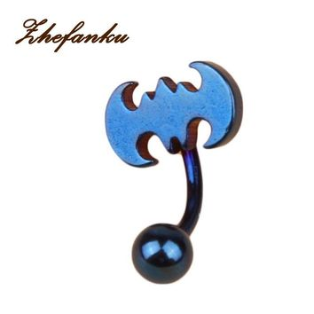 Body Piercing Jewelry Medical Stainless Steel Bat Belly Button Navel Ring Body-0280