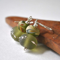 Olive Green Drizzled Lampwork Earrings, Earthy Silver Drizzled Glass Bead Earrings on Sterling Silver