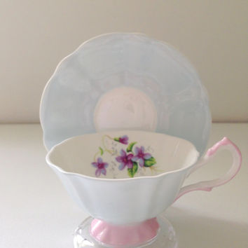 Vintage Queen Anne English Tea Cup & Saucer Fine Bone China Chateau Blue Mother to Be Gift Inspiration