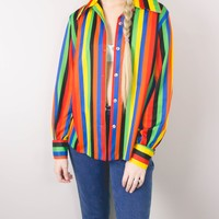 Vintage Rainbow Striped Button Up Blouse