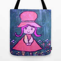 girl in flowers Tote Bag by helendeer