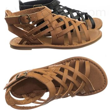 8e76c3351f318 Maying2 Girl Child Vintage Gladiator Flat Open Toe Cage Sandal Huarache