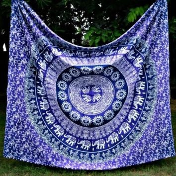 ESBU3C Free Shipping Elephant Indian Mandala Tapestry Hippie Wall Hanging Bohemian Bedspread Decor