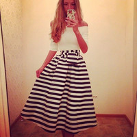 Stripe Off-Shoulder Sleeve A-Line Pleated Dress
