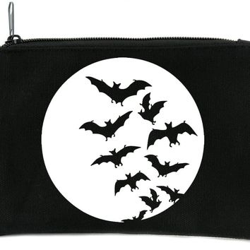 Full Moon with Bats Flying Cosmetic Makeup Bag Alternative Gothic Accessories