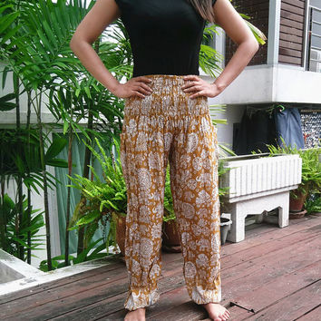 High Waist Yellow Yoga Elephant Pants Harem Boho Printed Beach Hippie Massage Rayon pants Gypsy Thailand Women Tribal Plus Size Hippie Skirt