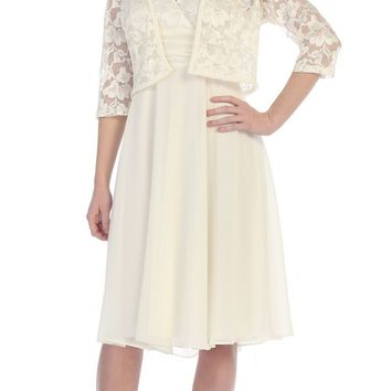 Short Mother of the Bride Formal Dress with Bolero Jacket