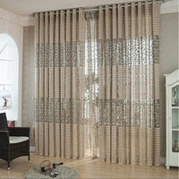 Tree leaf Tulle Door Window Curtain Drape Panel Sheer Scarf Valances (Size: 200cm by 100cm, Color: Coffee) = 1958037380