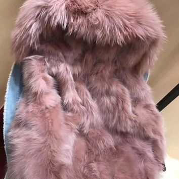 Real Fox Fur Lined Detachable Women Denim Jacket With Large Natural Raccoon Fur Collar Hooded Parka Winter Outwear