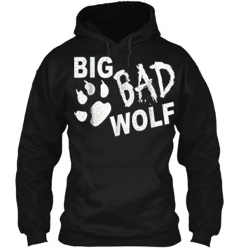 Big Bad Wolf Paw Distressed White Funny Novelty Pullover Hoodie 8 oz