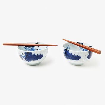 Blue Sumi Bowl Set for Two