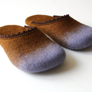 Violets for mom' Felted wool slippers HANDMADE TO ORDER by Onstail