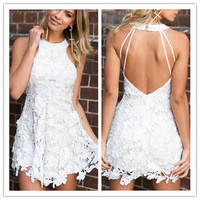 Fashion  Female Solid Color Lace Stitching Backless Back Hollow Halter Sleeveless Mini Dress Short Skirt