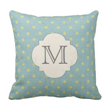 Blue and Yellow Polka Dots Monogram Throw Pillow