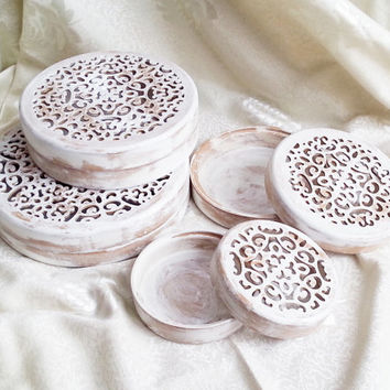 Set of 4 wooden boxes gift idea openwork ornament original wooden box shabby chic rustic