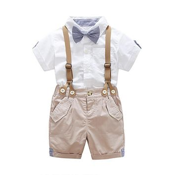 Stylish Bow Tie Shirt+Suspenders Shorts Pants