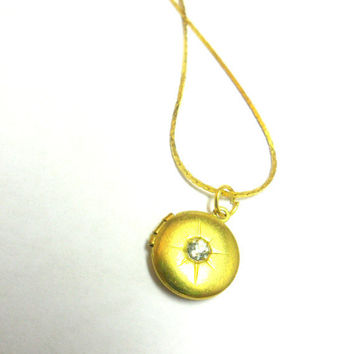 the north star necklace: vintage brass locket with crystal