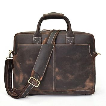 Men's Vintage Laptop Bag Genuine Leather Shoulder Bag PC Handbag Cow leather Business Bag Real Leather Briefcase