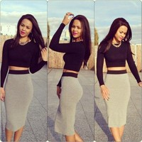 On Sale HOT GREY BLACK TWO PIECE DRESS