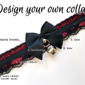 The Scarlet Collar [Design Your Own] Unpleated/Non Pleated Gothic Lace Kitten/Pet Play DDLG Collar