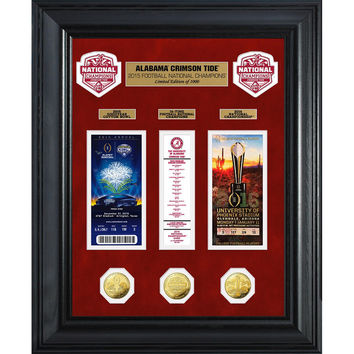 Alabama 2015 College Football National Champions Deluxe Gold Coin &Ticket Collection
