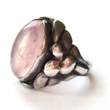 Antique Skonvirke rose quartz and silver ring, Art Nouveau jewellery, Georg Jensen style, early 1900s jewellery, #179.