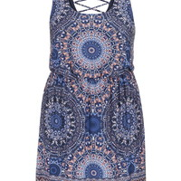Plus Size - Medallion Print Crisscross Back Dress - Blue Jasmine Combo